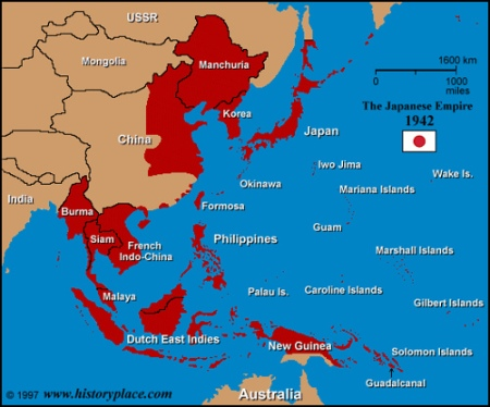 map:height of Japanese Empire in 1942. Comfort Women were taken from anywhere in red by kidnapping, or coercion(lied to) and shipped to anywhere in red. (http://www.flickr.com/photos/18297357@N00/135095101)