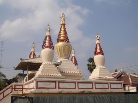 Beautiful Vajrayana style stupa located inside the Wat Pu Ren