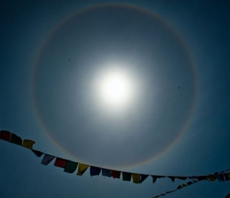 """ rainbows surrounding the sky""- Gomde, 2009, photo taken by: Olav Nyhus's album photo in facebook album- during the puja conducted by Chokyi Nyima Rinpoche."